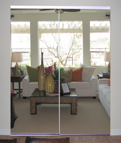 Frameless Steel Sliding Mirror Doors An Affordable Solution To Replace A Vinyl Closet Door Available Colors Bright White Champagne Gold Bronze