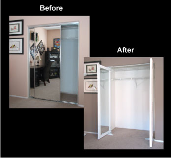 Replace Byp Bifold Or Accordion Doors Comes With A 6 Panel 2 Round Top On The Exterior Full Length Mirrors Inside